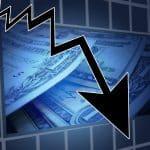 downward arrow dollar financial pension crisis