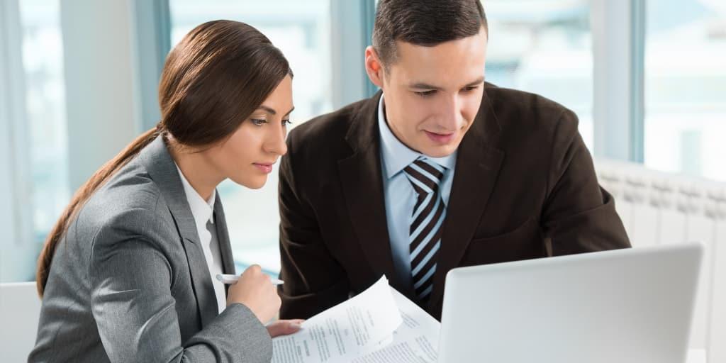 financial advisor at computer